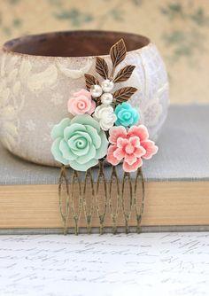 Pink Bridal Hair Comb Aqua Mint Rose Comb Metal от apocketofposies