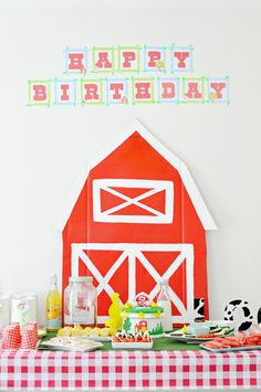 A fun and perfect party theme for any little boy or girl. Some must have things for a barnyard birthday party are; A farm themed birthday cake, farm house..