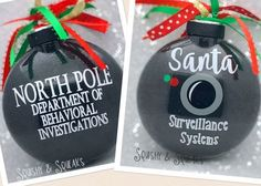 Santa Cam- LARGE Santa Camera Santa Ornament Glitter Christmas Ornament Santa Surveillance North Pole Viewer by SquishyandSqueaks on Etsy Santa Ornaments, Diy Christmas Ornaments, Homemade Christmas, Christmas Projects, Holiday Crafts, Holiday Fun, Christmas Holidays, Christmas Bulbs, Christmas Decorations