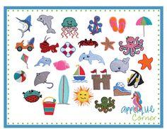 Beach Filled Mini Embroidery Designs Set