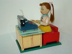 Vintage Battery Operated Tin Toys · Linemar Busy Secretary Battery op toy from 50s ebay