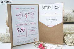 Rustic Wedding invitation Kraft Pocketfold Wedding by Shnabby, $5.00