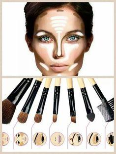 How to prepare makeup Makeup tips Makeup brushes Como preparar el maquillaje. Tips para maquillarte Brochas maquillaje - Schönheit von Make-up Face Contouring, Contour Makeup, Kiss Makeup, Contouring And Highlighting, Glitter Makeup, Love Makeup, Makeup Tips, Makeup Looks, Hair Makeup