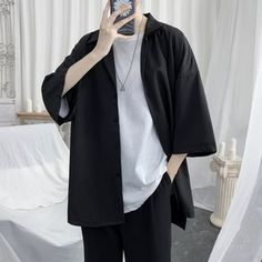Tomboy Fashion, Teen Fashion Outfits, Cool Outfits, Casual Outfits, Style Fashion, Korean Fashion Men, Korean Outfits, Aesthetic Clothes, Color Black