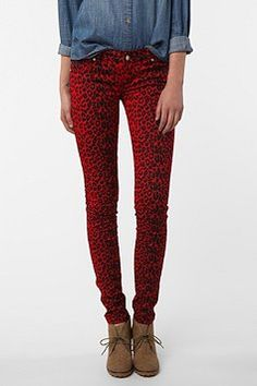 red leopard jeans