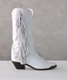 white boots, Cowboy Boots, 80s fringe white leather western cowgirl bohemian boots, cuban heel, womens 6.5 / 37
