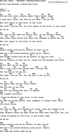Michael Jackson Billie Jean Lyrics   Song Billie Jean by Michael Jackson(thriller), with lyrics for vocal ...
