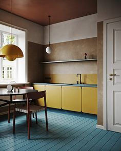 Can't get enough of these colors, super nice colorful, crazy but brilliant modern interior. Midcentury modern, mixed with contemporary and… Deco Design, Küchen Design, Home Design, Layout Design, Apartment Projects, Cuisines Design, Best Interior, Yellow Interior, Brown Interior