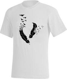 PLUMES - Tee-shirt Blanc - oiseaux, vole, design, graphique