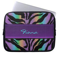 Personalized Psychedelic Rainbow Zebra Skin Sleeve Laptop Sleeve