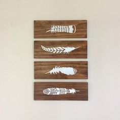 Feathers Wall Art on Grey Wood - 4 Piece Set - Nursery Decor, Farmhouse Style , Rustic Decor, Boho Style Painting, Timber Panels