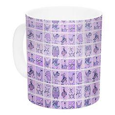East Urban Home Cute Birds Purple by Marianna Tankelevich 11 oz. Lavender Ceramic Coffee Mug