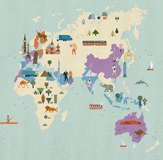 Lotta-Nieminen Illustrations World map detail... haha where the states?