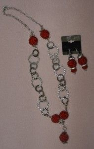 Red Cherry Beads with Silver Chain