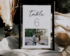 A 4x6 and 5x7 photo wedding table sign template. Print as many as you need and just place a picture onto the sign. Sign Templates, Table Signs, Wedding Table Numbers, Wedding Stationary, Etsy Seller, Creative, Frame, Diy, Picture Frame