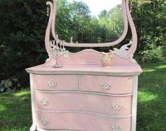 SOLD*****Dresser with mirror shabby chic, dresser cottage chic, pink, serpentine,vintage antique