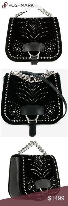 "NEW Miu Miu Dahlia Studded Crossbody Bag Miu Miu's iconic 'Dahlia' bag is named after the legendary female racehorse that famously won the Grand Prix de Saint-Cloud at just four years old. First debuted on Fall '16 runways, this studded version is immaculately made from leather and plush velvet - the distinctive saddle strap nods to classic equestrian styles. Carry yours in-hand using the chunky chain. Size: 6.1""h, 7.4""w, 2.4""d. Miu Miu is a high fashion brand from the Prada fashion house…"