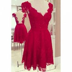 2015 Hot Sexy V Neck Backless Wedding Evening Celebrity Bridal Dress Vestidos De Fiesta Red Lace Short Mini Dresses For Women Dresses Short, Lace Dresses, Pretty Dresses, Beautiful Dresses, Formal Dresses, Evening Dresses, Casual Dresses, Formal Prom, Mini Dresses
