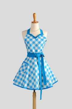 Cute Kitchen Aprons Hardware For Cabinets And Drawers 354 Best Images Apron Sweetheart Retro Womens Handmade Full In Turquoise Blue Gingham