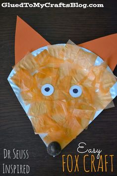 Dr Seuss Inspired Easy Fox Kid Craft is part of Forest Animal crafts - Dr Seuss Inspired Paper Plate Easy Fox Kid Craft Dr Seuss Crafts, Fox Crafts, Animal Crafts, Jungle Crafts, Dr Seuss Week, Dr. Seuss, Paper Plate Crafts For Kids, Crafts For Kids To Make, Fall Crafts For Preschoolers