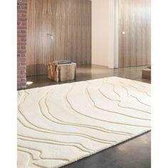 Tapis beige crème à reliefs Create par Ligne Pure en laine au visuel aussi pur que reposant.  #tapis #decoration #deco #reliefs #blanc