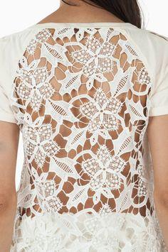 Camiseta Costas Guipure Cruzado Manga Off White   Olook Off White, Manga, Tops, Products, Women, Style, Fashion, Crusaders, Bicycles