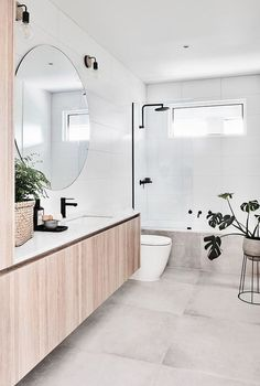 Large 6060 tiles on floor plain white rectangular on walls for kids room. Show - Plants On Wall - Ideas of Plants On Walls - Large 6060 tiles on floor plain white rectangular on walls for kids room. Shower over bath Bathroom Renos, Bathroom Renovations, Bathroom Ideas, Bathroom Showers, Bathroom Mirrors, Bathroom Organization, Simple Bathroom, Bathroom Lighting, Minimal Bathroom
