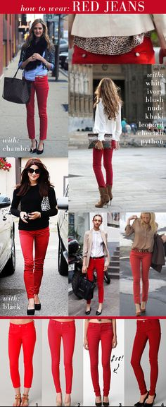 How to wear red jeans. This Georgia girl already knows how to wear red jeans! Fashion Mode, Look Fashion, Womens Fashion, Jeans Fashion, Red Fashion, Fall Fashion, Fashion Beauty, Mode Outfits, Fall Outfits