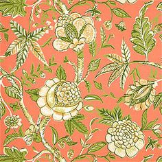 Fanfare #wallpaper in #coral from the Seaside collection. #Thibaut