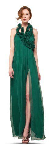 Silk chiffon cascading rosette evening dress