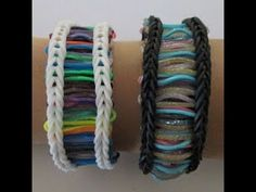 Rainbow Loom BARCODE Bracelet (Reversible). Designed and loomed by Claire's Wears. Click photo for YouTube tutorial. 06/07/14.