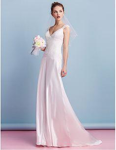Lanting Bride® Tubinho Vestido de Noiva Cauda Escova Decote V Charmeuse com Renda