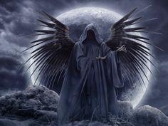 Grim Reaper Tattoo Drawings Graveyard | Clouds wings grim reaper moon gothic skeletons skyscapes wallpaper ...