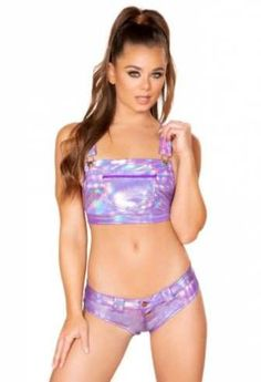 708f2bc550a 59.99 | Roma purple metallic crop top booty shorts set | Dancewear