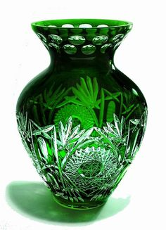 Amphora Vase Emerald Green! Beautiful cased crystal vase with intricate cutting work. Made in the fine tradition of the best Polish Crystal Cutters. Limited Production.