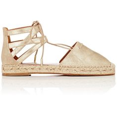 Aquazzura Women's Belgravia Lace-Up Espadrilles ($299) ❤ liked on Polyvore featuring shoes, sandals, gold, metallic shoes, lace up shoes, metallic espadrilles, metallic gold shoes and laced sandals