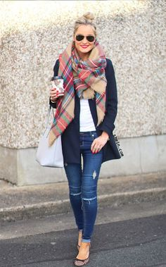 Elegant style outfit. Love this Red Classic Plaid Fringe Scarve. SHEIN design.