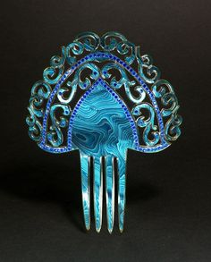 iridescent turquoise celluloid comb
