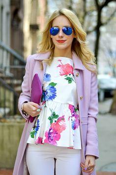 Kate Spade Floral Peplum Top