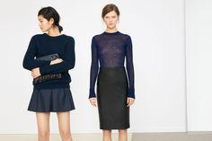 ZARA United States. Winter. Fall. Skirt. Fashion. Blue and black. Chic.