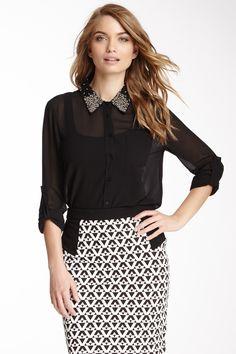 Embellished Long Sleeve Blouse on HauteLook