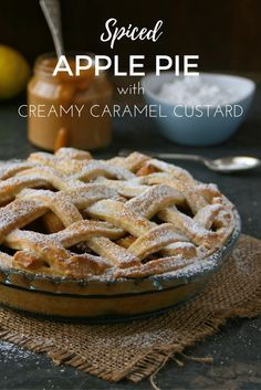 ~ Recipe ~ Spiced apple pie with creamy caramel custard. Nostalgic and homely comfort food.