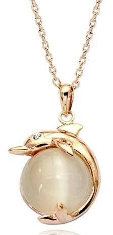 """18K Gold Plated Opal Dolphin Pendant Necklace 18""""-CN3533 Color-jewels. $18.95. Comes with a gift box."""