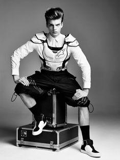 Daan van der Deen lensed by John Akehurst and styled with pieces from Dolce & Gabbana, Prada, and more, for the latest issue of Wonderland magazine.