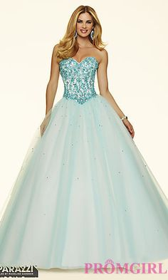 Ball Gown Style Mori Lee Prom Dress with Corset Back at PromGirl.com