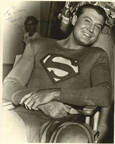 """George Reeves incredible signed photograph as """"Superman"""". First Superman, Superman Family, Batman And Superman, Superman Stuff, Comic Book Heroes, Comic Books, Comic Art, Original Superman, George Reeves"""