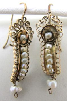 Vintage Gold & Pearl Mexican Wedding Earrings www.nomadcambridge.com