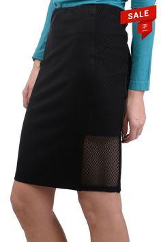 6f370d5808 RRP 120 BELAIR Pencil Skirt Size 3 / L Black Mesh Sides Stretch #fashion #