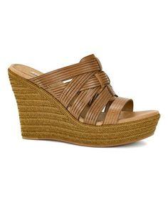 Look at this #zulilyfind! Chestnut Melinda Leather Platform Wedge Sandal - Women #zulilyfinds