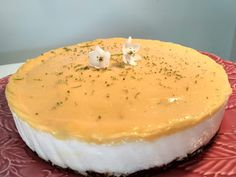 Cheesecake de lima e lemon curd Cheesecake, Paleo, Pudding, Desserts, Dessert Food, Healthy Finger Foods, Ideas, Cheesecake Cake, Tailgate Desserts